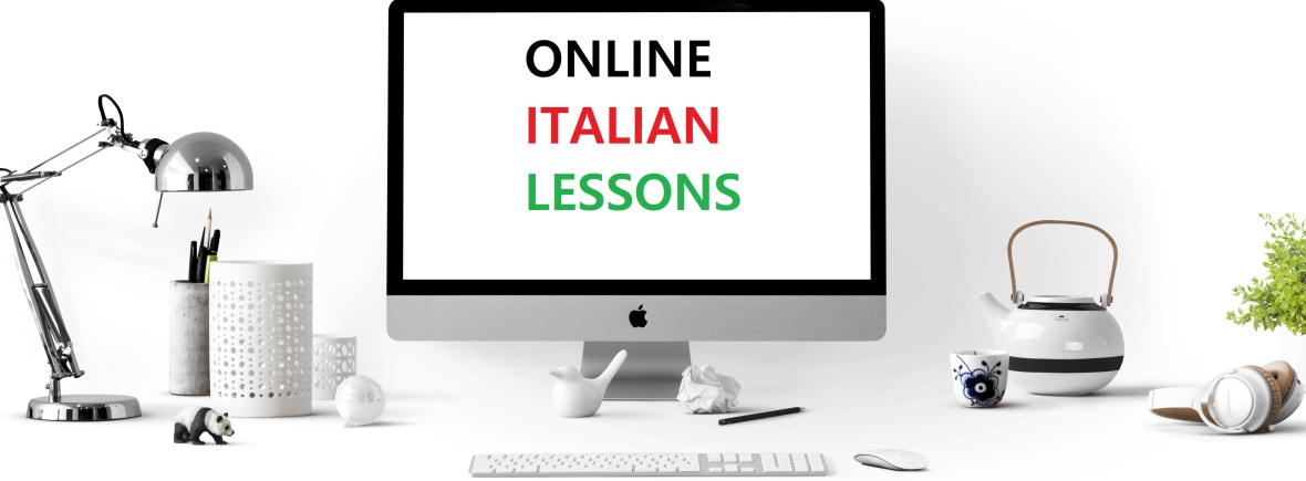 picture of a screen with the text online italian lessons